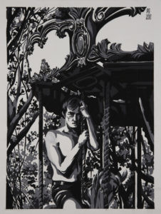 male model on merry go round