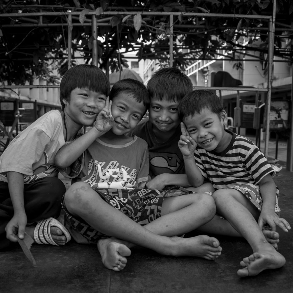 barefoot thai children