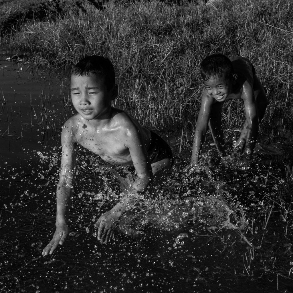 shirtless boys at somrang lake