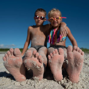 focus on feet - boy and girl barefoot