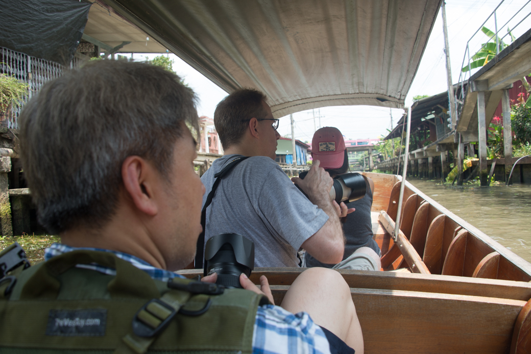 hired boat at floating market