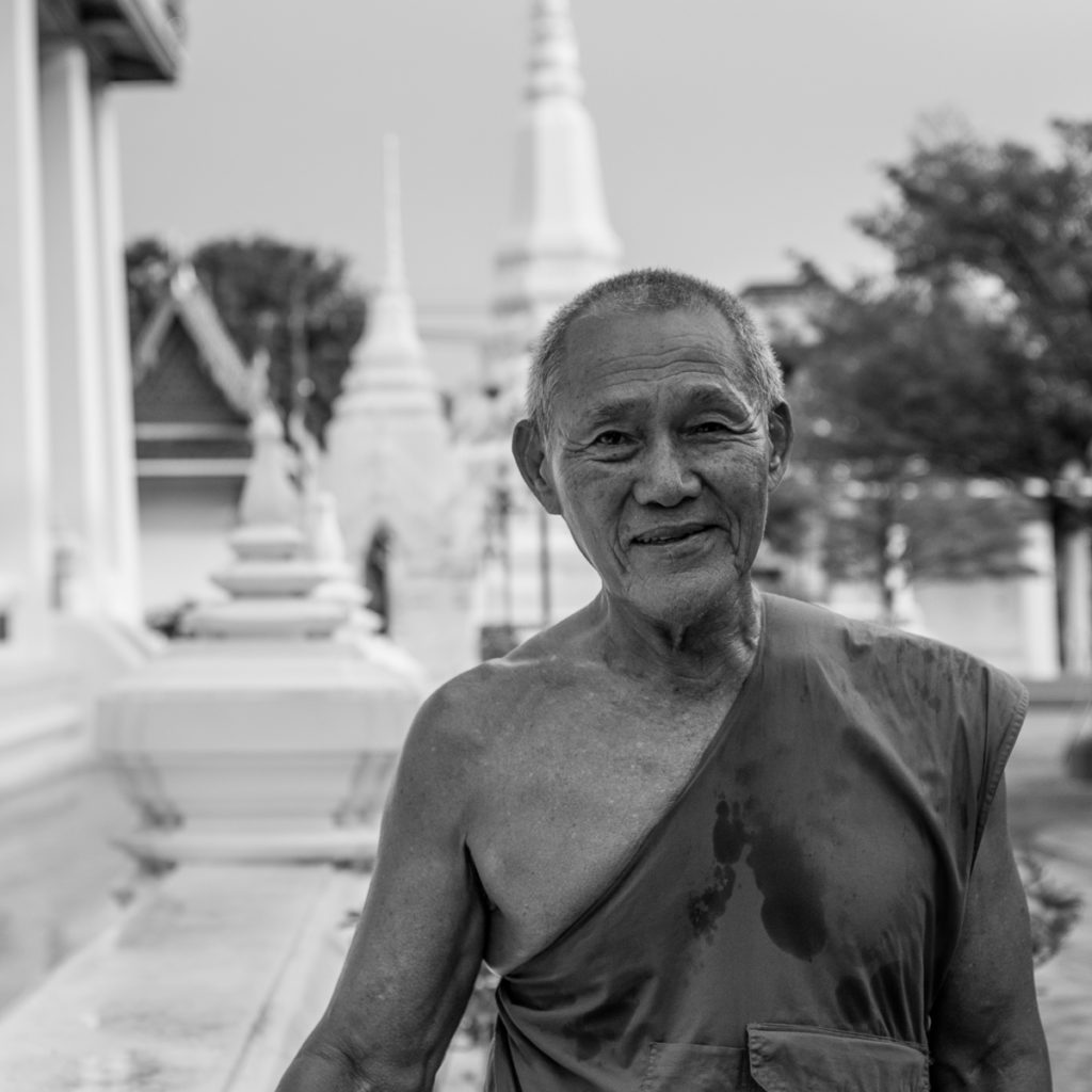 buddhist monk in bangkok at wat intharam