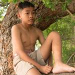 barefoot boy in a tree