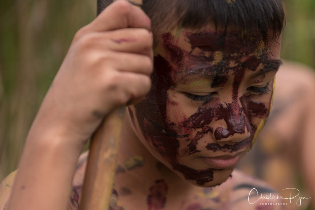 boy with tribal facepaint