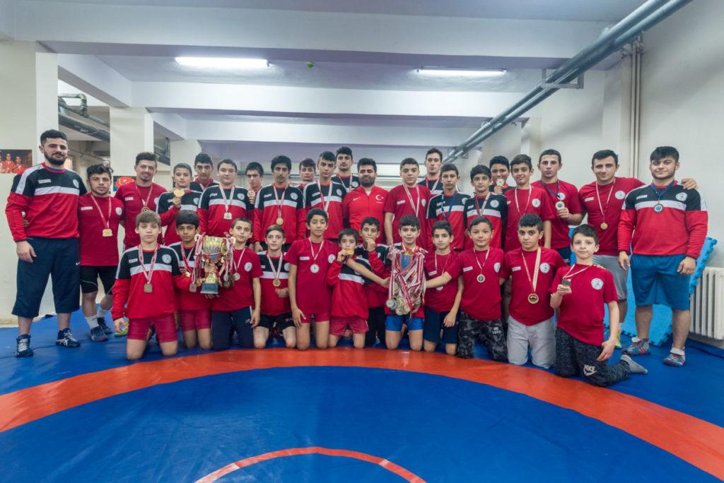 Turkish oil wrestling team photo