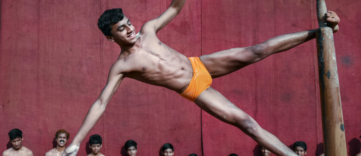 Individual mallakhamb performer with amazing strength and beautiful body